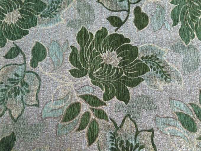 chenille floral design green upholstery fabric