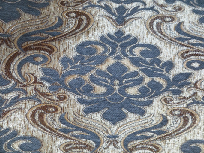 100 Polyester Jacquard Yarn Dyed Chenille Blue Upholstery Fabric