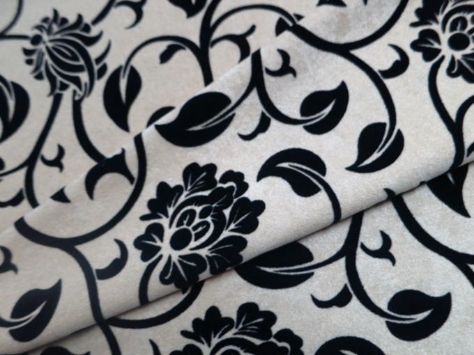 suede flock black floral decorator fabric - Decorator Fabric