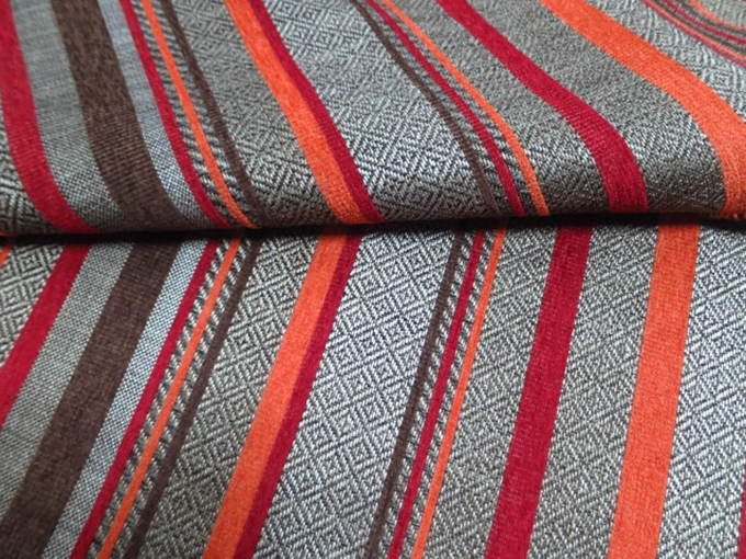 100 Polyester Orange And Red Stripe Chenille Home Decorator Fabric