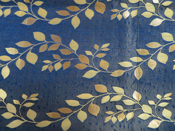 100 Polyester Jacquard Leaf Design Curtain Navy Upholstery Fabric