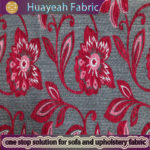 100% Polyester red color flower design chenille textile