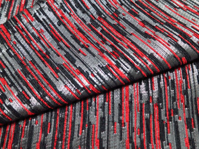 Red Black Chenille Striped Sofa Fabric