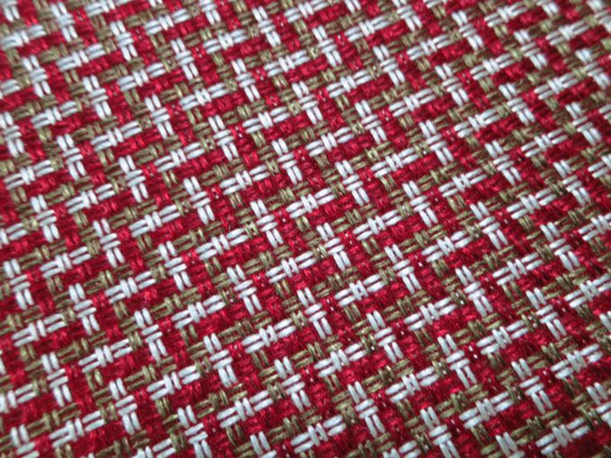 Red White Upholstery Chenille Tweed Sofa Fabric