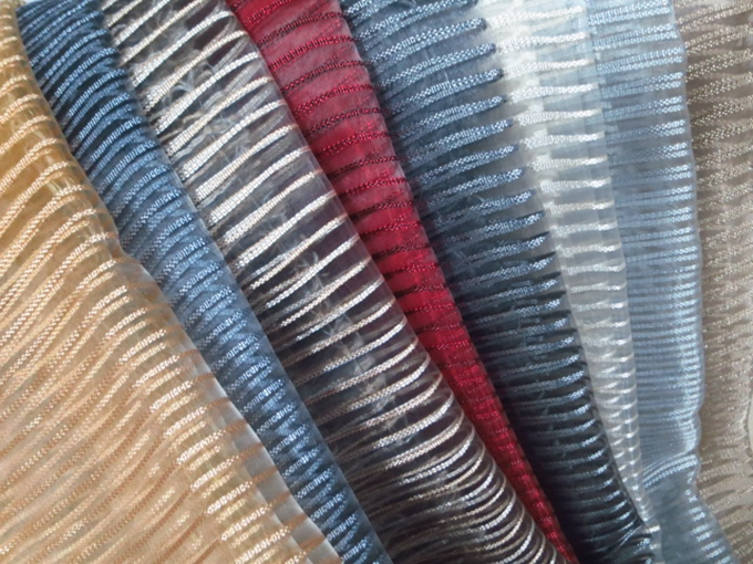 100 Polyester Stripe Sheer Fabric Curtains For Cafe Restaurant