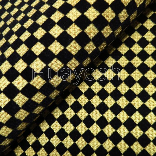 Plaid Flocking Durable Upholstery Fabric