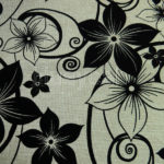 faux linen polyester floral flocking fabric