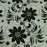 middle east flocking florals on linen look fabric